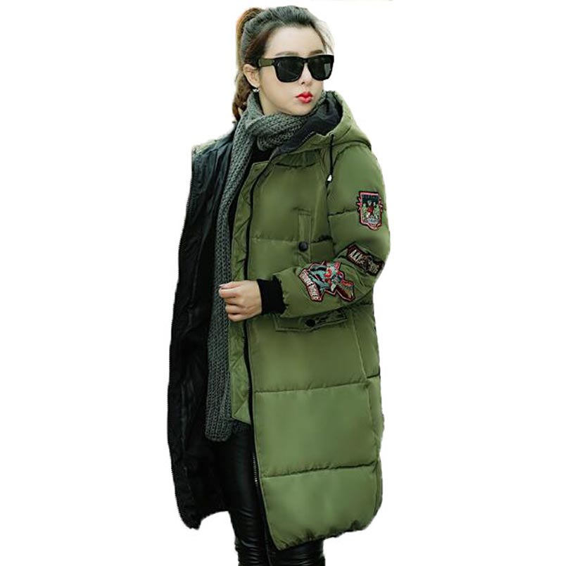 ФОТО 2017 New Plus size Winter Long Thicken Women Warm Cotton-Padded parka Fashion female outerwear CE0310