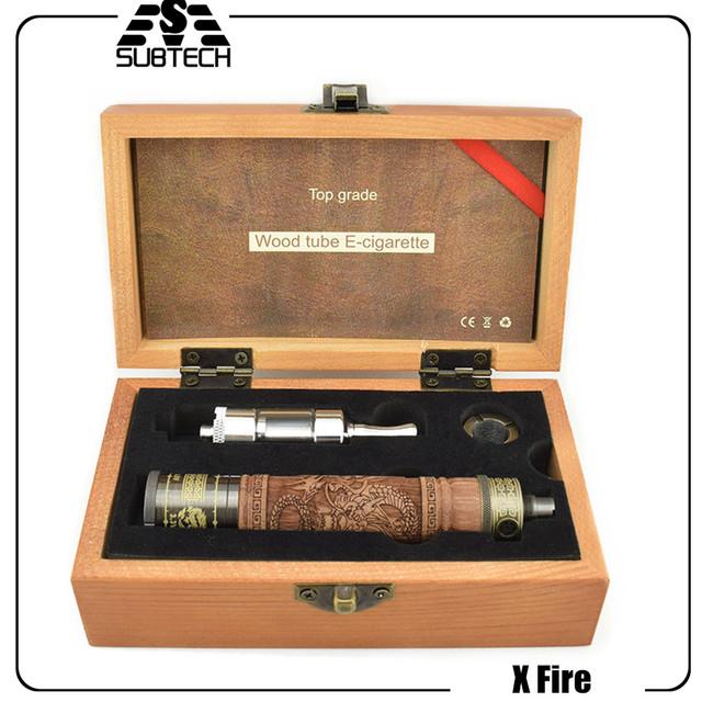 Hot X Fuego 2 cigarrillo electrónico kit de Madera E incendios tubo de Cigarrillo Electrónico de voltaje variable batería vapoizer 2 ml De Madera fumar tanque