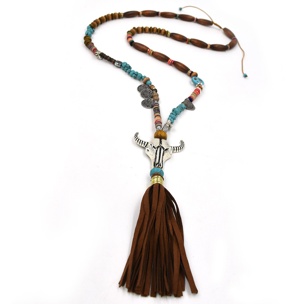 New Ethnic Tibet antique Silver Tauren pendant necklace beaded chain Cotton Tassel pendant long Necklace taurus pendant necklace
