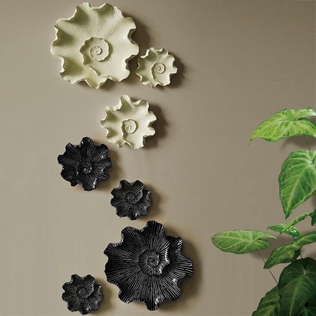 3D Art цветок Белый Черная смола листьев вход на стене дома декора Бар Мебель Craft ТВ фоне стены украшения
