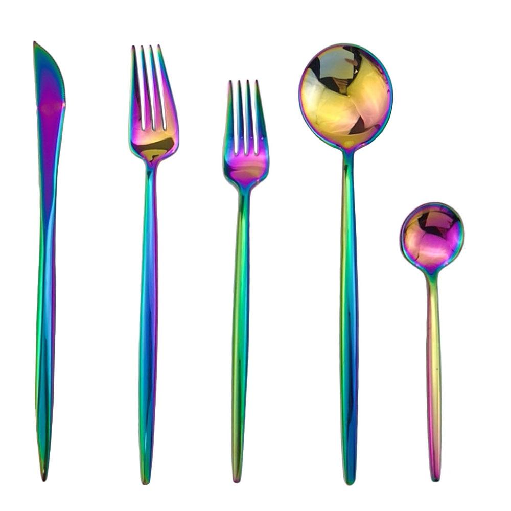 30Pcs Black Rainbow Rose Gold Dinnerware Set Top Quality Stainless Steel Dinner Knife Fork Teaspoon Cute