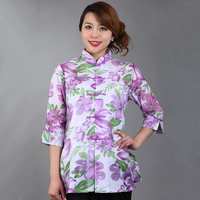 Purple Chinese Cotton Chiffon Lady Long Blouse Spring Autumn Women S Shirt Hollow Out Flowers Clothing