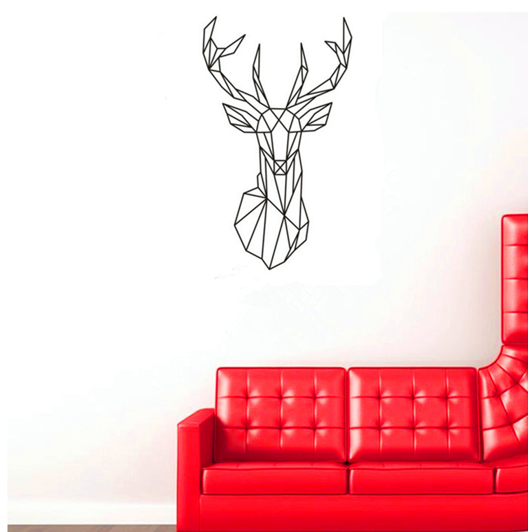 Vinilos Paredes Geometric Deer Head Wall Sticker Geometry Animal - Custom vinyl wall decals deer