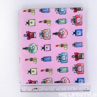 Cute Sexy Fashion Lipstick Perfume Bottle Pattern Canvas Handmade DIY Cloth Red Yellow Blue Black And