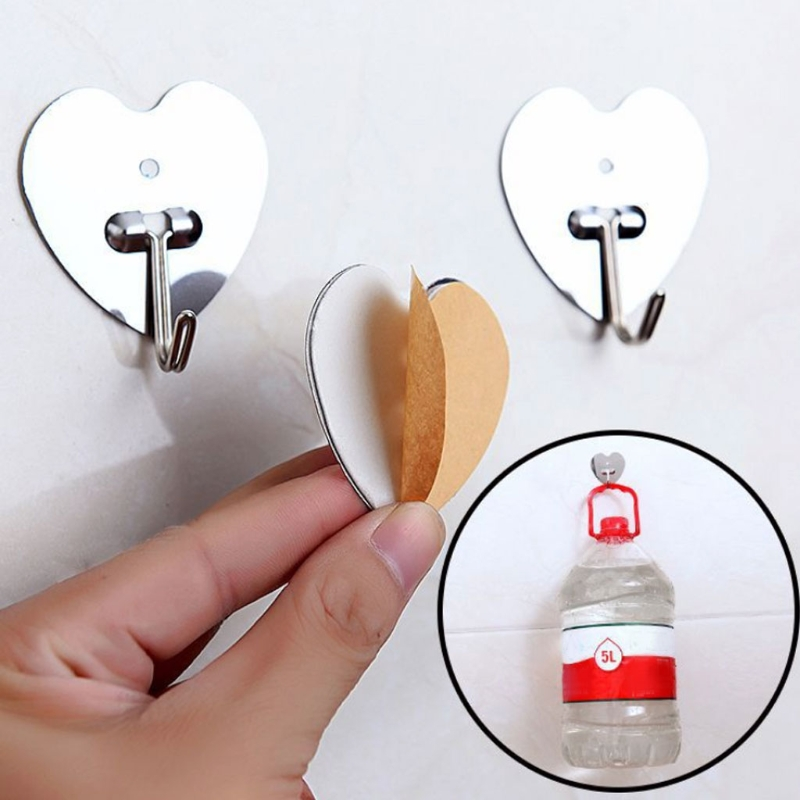 Home Use Stainless Steel Hook No Trace Adhesive Holder Wall Door Hanging Towel Bag Key Organization