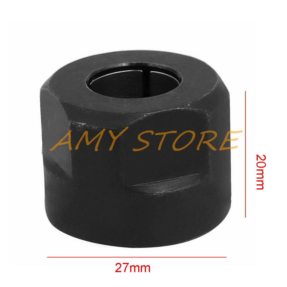 """12.7mm Black Metal 1/2"""" Collet Nut Plunge Router Parts for Makita 3612 Engraving Machine plunge router 20 x 27mm"""
