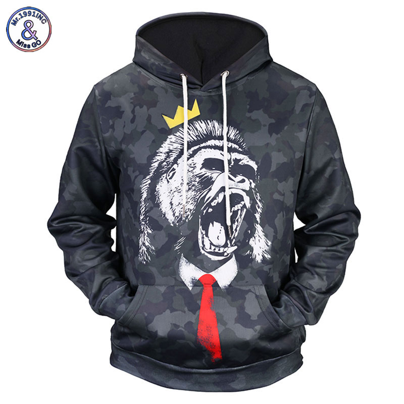 Mr.1991INC Camouflage Style Hoodies Men/Women 3d Sweatshirts Print Angry Gorilla Unisex Hooded Hoodies Pullover Tops