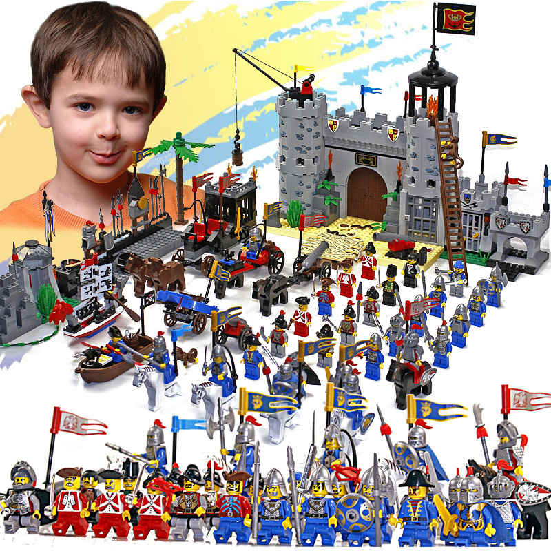 Castle Educational Building Blocks Toys For Children Boys Gifts 32 Hero Knight Boat Arrow Horse Weapon Gun Compatible LegoNYING castle and knight