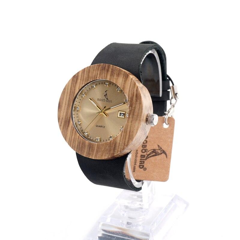 Prix pour BOBO BIRD B30 Hommes Femmes Montre-Bracelet En Bois Auto Date Quartz Dames Montre En Or avec En Cuir reloj mujer 2016