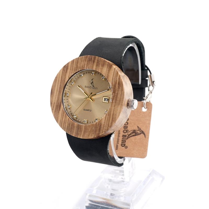 BOBO BIRD B30 Men Women Wooden Wristwatch Auto Date Quartz Ladies Gold Watch with Leather reloj