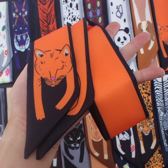 Модный Роскошный брендовый летний маленький Тощий шарф для волос лента евро животные принт саржевый шелковый шарф для женщин галстук голова шарфы