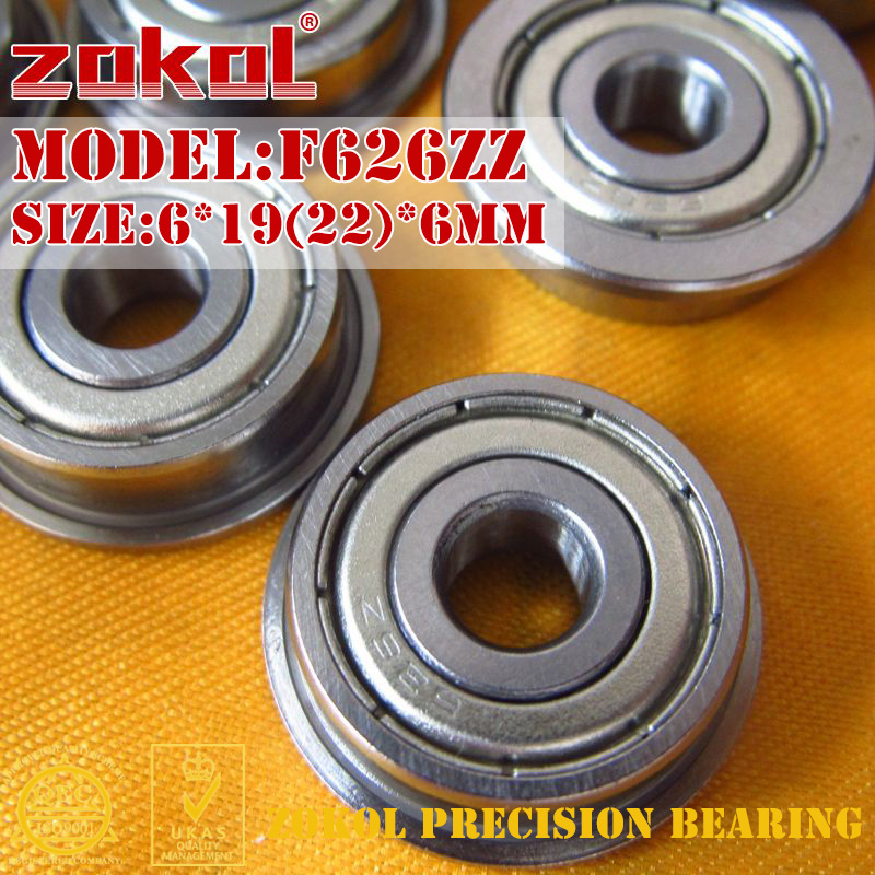 ZOKOL F626 ZZ Bearing F626ZZ Flange Bearing F626-ZZ Deep Groove Ball Bearing 6*19(22)*6mm
