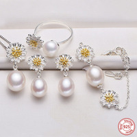 Fashion Natural Freshwater Pearl Daisy Jewelry Sets For Women 925 Silver Pendant Ring Earring Pendant Top