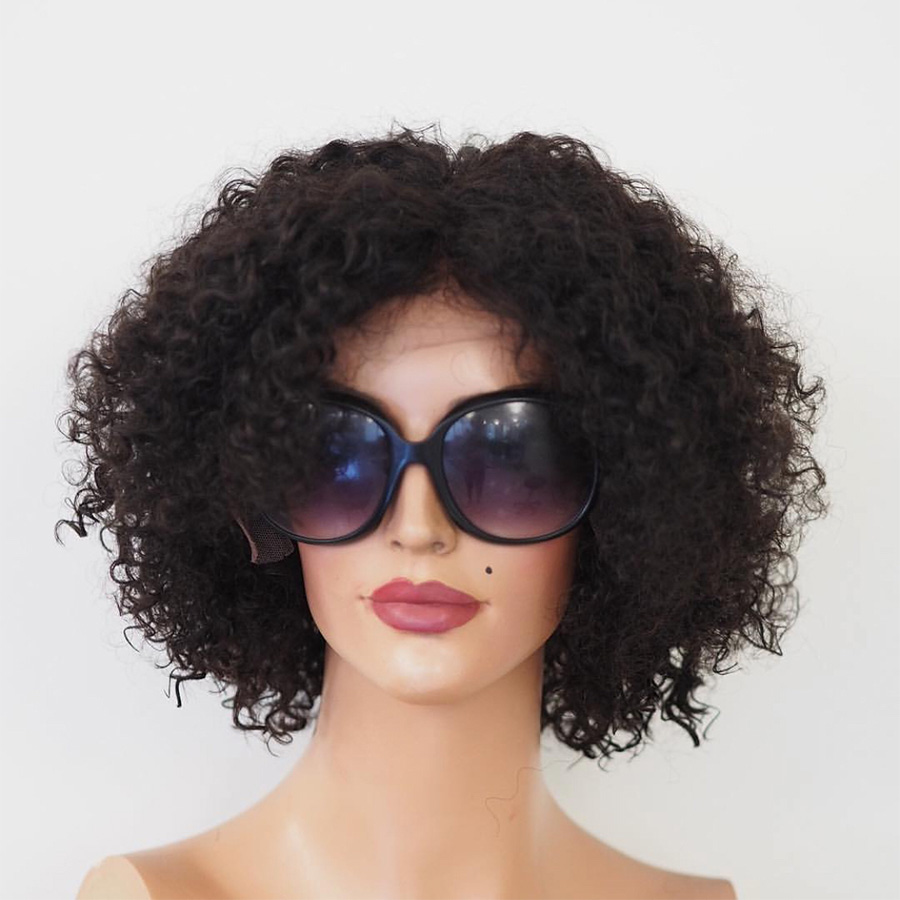 Remy Brazilian Human Hair Wigs Short Cut Curly Lace Front Wig Natural Color No Tangle Middle/Side/Free Part-in Human Hair Lace Wigs from Hair Extensions & Wigs    1
