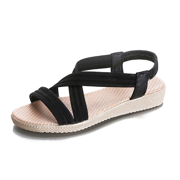 2018 New Summer Women Sandals Strappy Solid Color Elastic Strap Lady Beach Casual Shoes WML99
