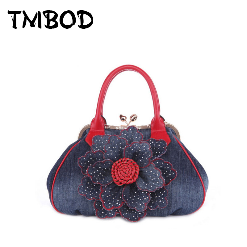 New 2018 Brand Small Handbag Durable Denim & PU Leather Tote Bags For Women With Diamonds Popular Lady Frame Shoulder Bag an226