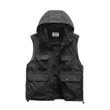 Men Outdoor Photography Fishing Vest Casual Hooded Jackets Multi-pocket Vest Taslan Waistcoat Quick-drying For Hiking Hunting