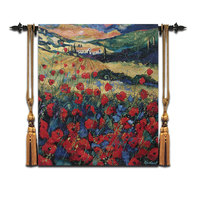Belgian tapestry Pastoral mural Bedroom Distribution Box Fresco Fabric jacquard Poppy 67X76CM