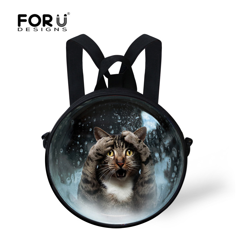 Stylish Children Mini Round School Bags Cute Cat Dog Mini Shoulder Bookbags for Kindergarten Toddler Baby Girls Kids Schoolbag