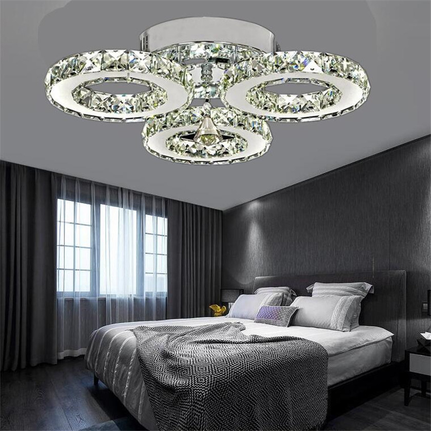 Modern K9 Crystal Led Ceiling Lights Stainless Steel 3 Rings Ers Plafond For Kitchen Dinning Room Luminaire Light Fixtures