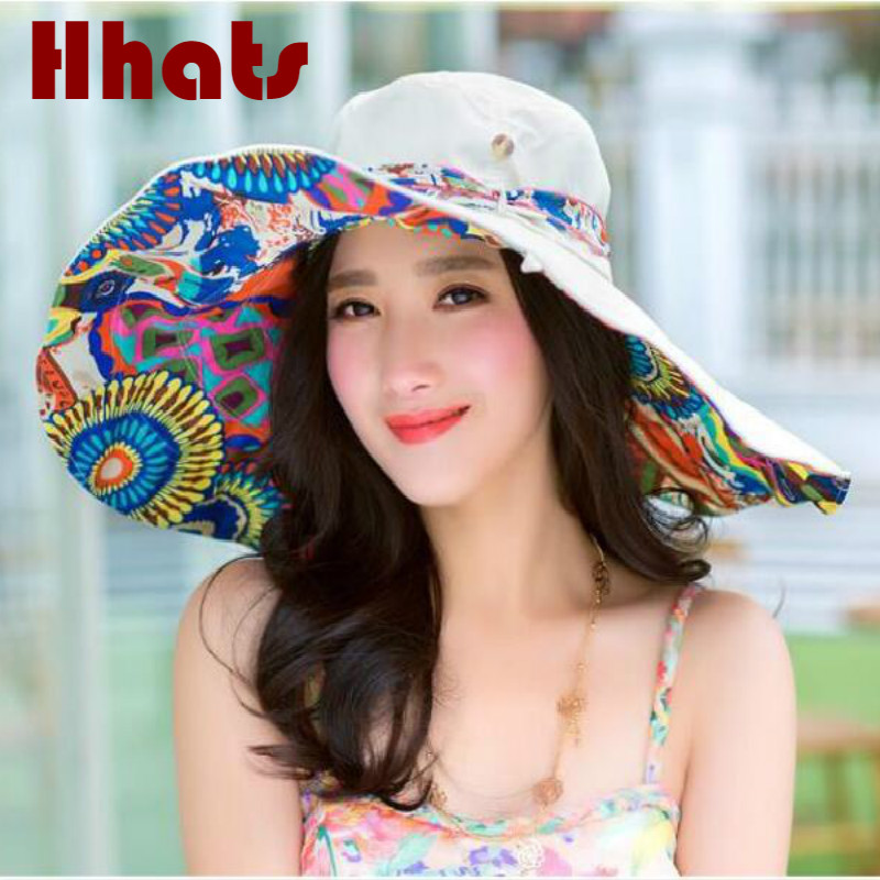 Women's Hats Sun Hat For Women Foldable Summer Large Brim Beach Hat Cap Reversible Flower Printed Wide Brim Female Panama 6 Colors Limpid In Sight