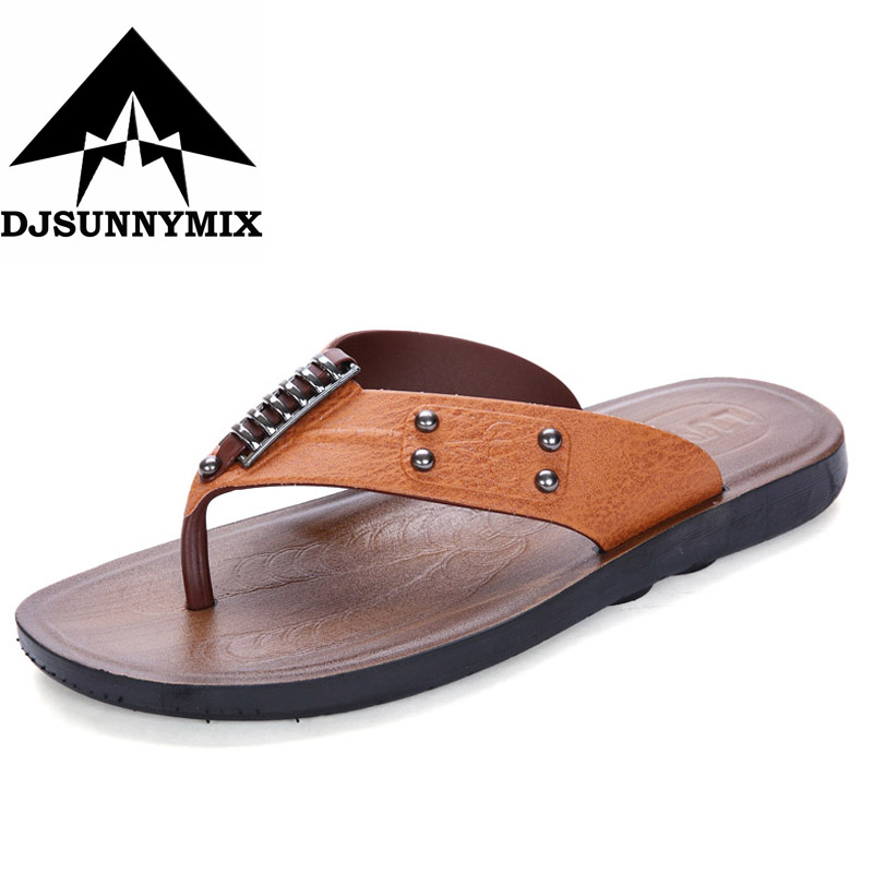 DJSUNNYMIX Hot sale summer fashion men sandals slides flip flops brand breathable casual slippers brown zapatillas hombre hot sale natural man hemp flip flops summer breathable fashion beach sandal shoes men s casual canvas slides shoes free shipping
