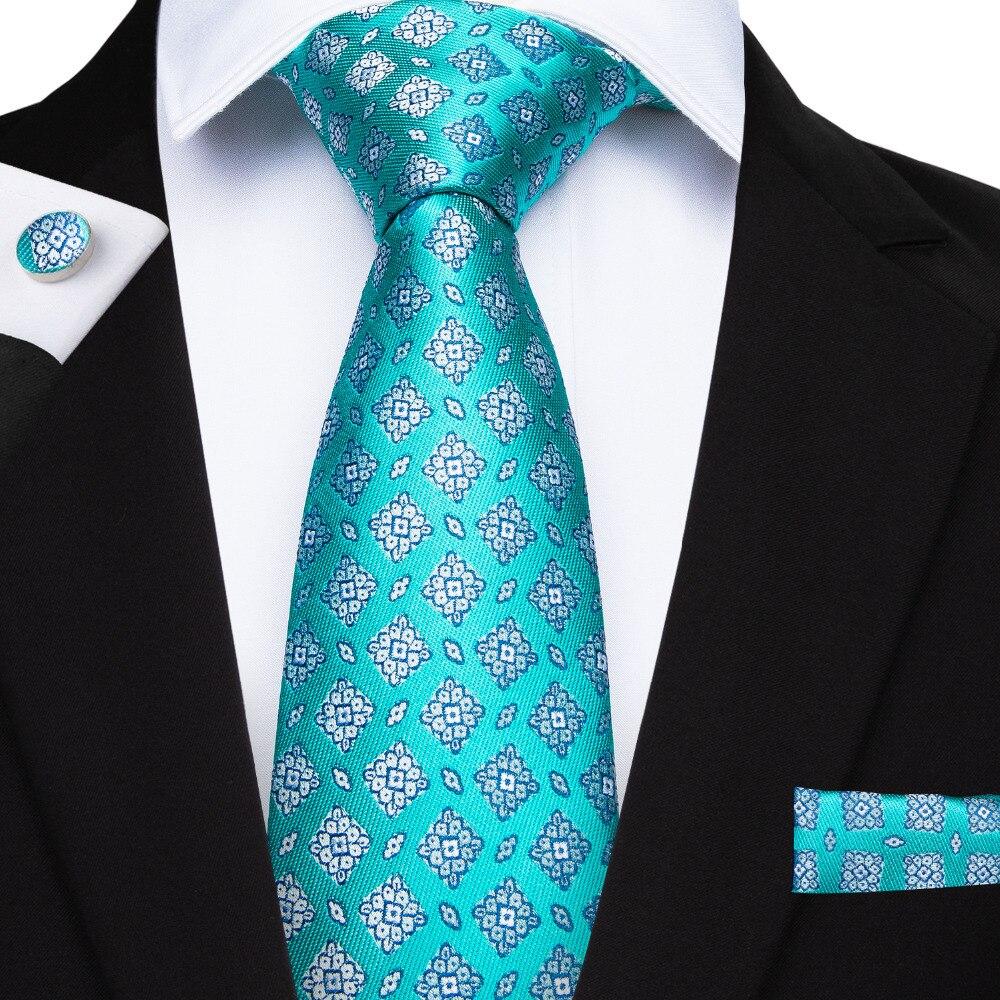 2019 DiBanGu New Designer Blue Ties 100% Silk Floral Tie For Men 150cm Long Necktie Business Party Wedding Tie Set  SJT-7165