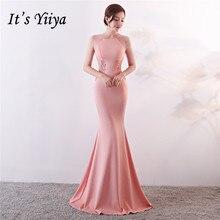É yiiya vestidos de noite royal o neck sem mangas pérolas vestido de festa elegante bordado zíper voltar longo trompete vestido de baile c188