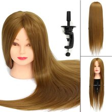 26 inch Blonde 30% Real Natural Hair Training Mannequin Training Head With Clamp Holder Professional Practice Wig Head Women(China)