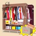 Дом Декорации Бордовый Кофе Нетканые Ткани Шкаф Для Одежды Шкаф Шкафчики Спальня С Коробку Для Хранения Шкаф Стальной Трубы