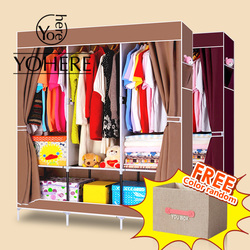 House scenery burgundy coffee non woven fabric wardrobe clothe cabinet lockers bedroom with storage box with.jpg 250x250