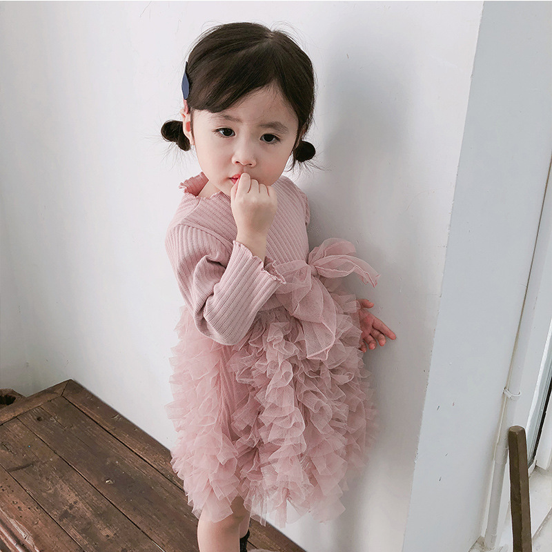 2019 Cotton Long Sleeve Knitted Kids Dresses For Girls Toddler Clothing Baby Girl Drees Tulle Patchwork Grey Pink White Spring 12