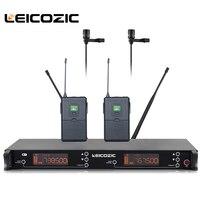 Leicozic Professional wireless microfone 615 655Mhz lapel wireless microphone lavalier Wireless Mic karaoke system dual channel