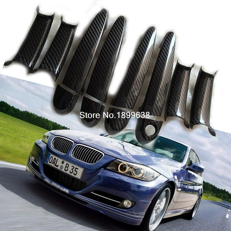 Rear Carbon Fiber Door Handle Bar Cover sticker car accessories styling For BMW 3 series E90 E91 E93 F30 F31 F35 2005 - 2015 pair car front headlamp clear lens headlight plastic shell clear cover for bmw e90 e91 2004 2005 2006 2007