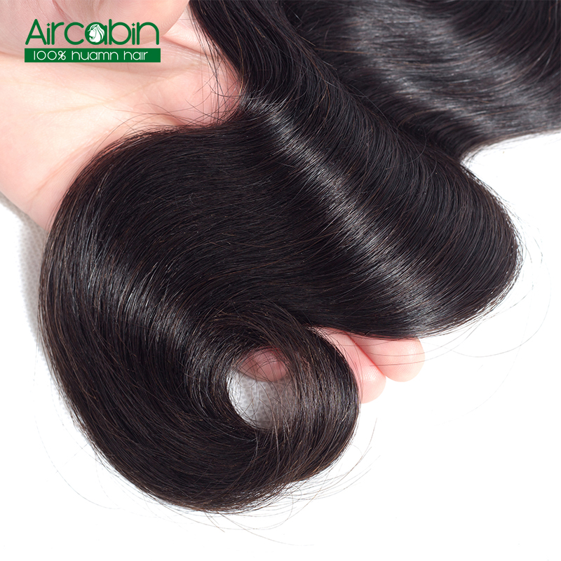 AirCabin Brazilian Body Wave Bundles Natural Black 100% Human Hair Weave 3 Bundles Remy Hair Extension Can Be Dyed and Bleached