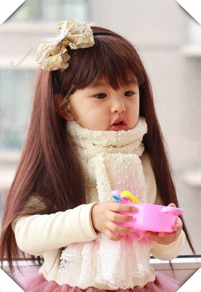 synthetic children girls costume party natural black long straight