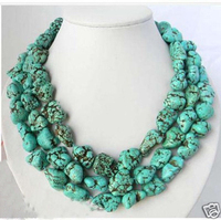 free shipping >>long 46inch Natural Tibet Asian natural Stone Turquoises jewelry Necklace