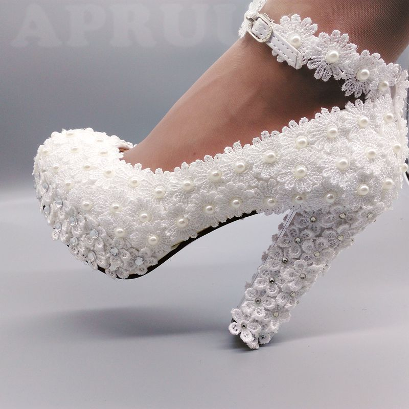 11cm super high block heels ivory lace pearls wedding shoes bride ankle strap handmade chunky heeled