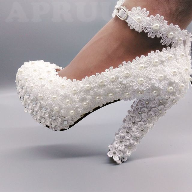 0d3cf21d129ab US $34.3 30% OFF|11cm super high block heels ivory lace pearls wedding  shoes bride ankle strap handmade chunky heeled brides wedding pumps shoe-in  ...