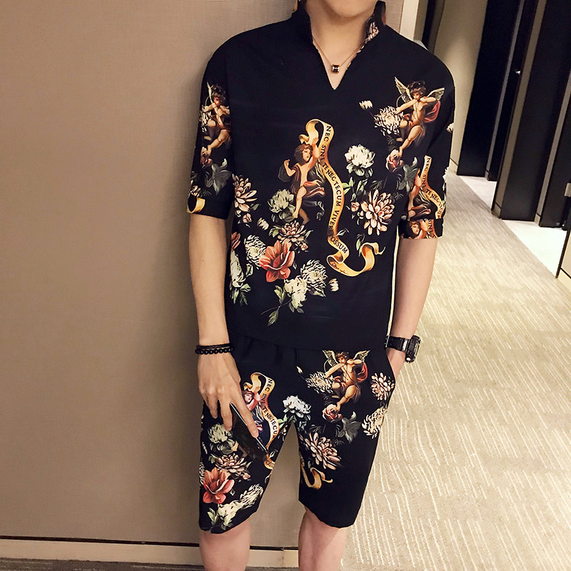2 Pieces Men Set 2019 Summer Men Shirts + Shorts Casual Printed Shirt Homme Short Printing Dress Suit Tracksuit Mens Clothing