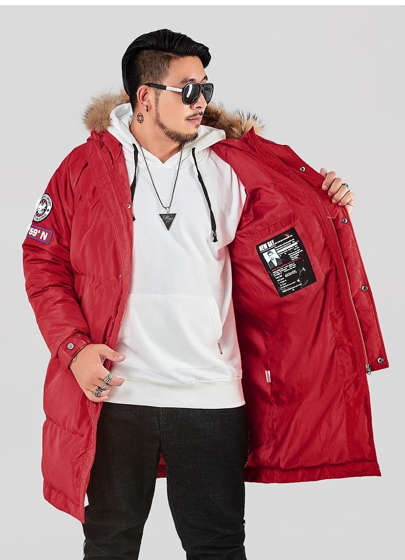 2018 men's winter duck   down     coat   male warm parka long jacket with real fur hood red white plus big size xxxxxxl 3xl 4xl 5xl 6xl