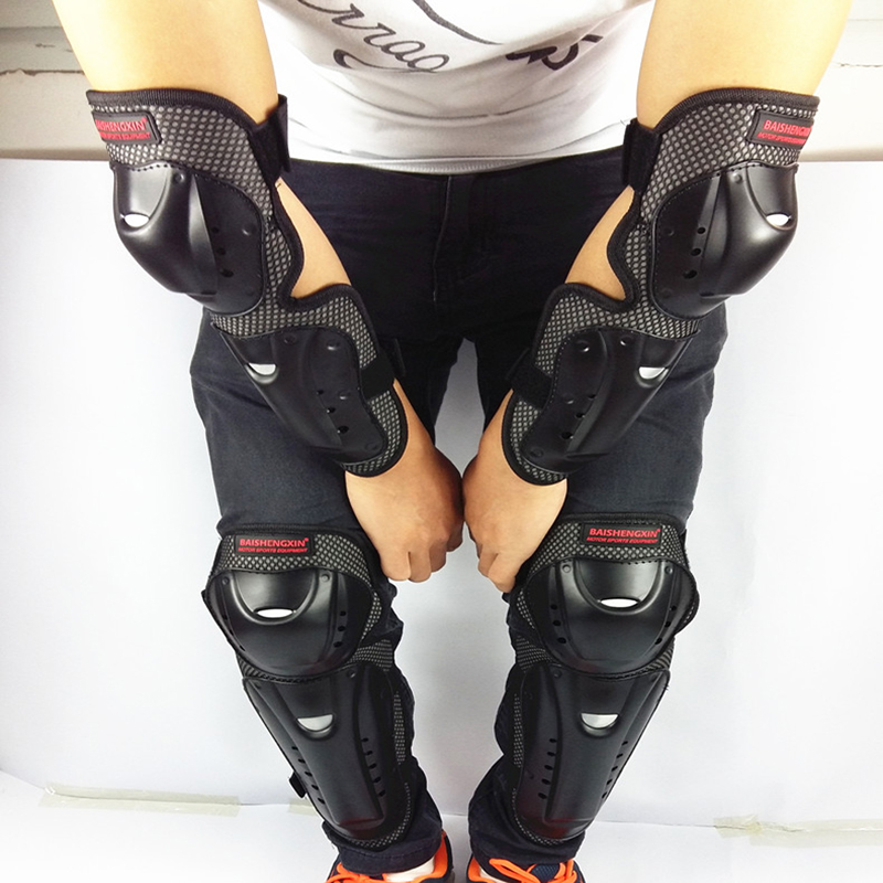 4pc/s Motorcycle knee & elbow protective pads Motocross skating knee protectors riding protective Gears pads protection 3