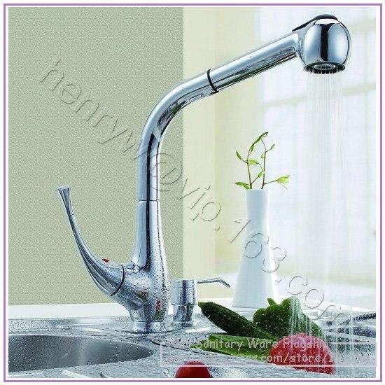 Vente au détail-mélangeur de cuisine de pulvérisation de luxe, robinet amovible, mélangeur de sortie monté sur le pont, livraison gratuite L15826