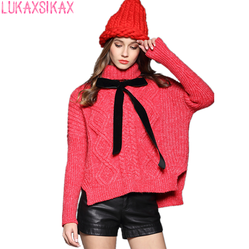 2017 New Year Specially Tailored Turtleneck Red Christmas Sweater High Quality Thicken Warm Knitted Pullover Sweater Women Tops