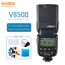 Godox V850II Speedlite 2.4G GN60 Wireless X System lithium battery flash Speedlite for Canon Nikon Sony Pentax Olympus mcoplus 130 led video light with 1 x np f750 battery for canon nikon sony pentax panasonic samsung olympus