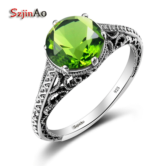 szjinao dragon antique rings couples engagement rings women 925 sterling silver peridot wedding souvenirs wholesale hobbit - Peridot Wedding Rings