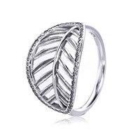 Аутентичные стерлингового серебра 925 тропическим принтом листьев кольцо для Для женщин древний серебряный Обручение ювелирные кольца