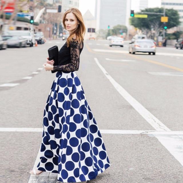 Moda vintage de bolinhas mulheres longa saia de cintura alta saia maxi impresso casual elegante preto/azul/vermelho plissado saia plus size