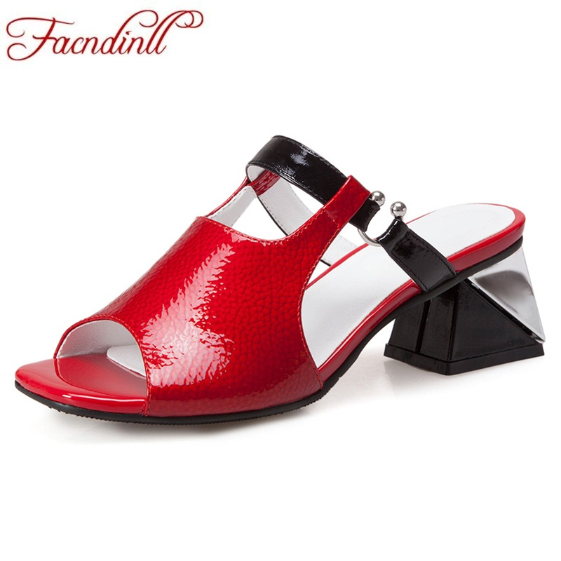 FACNDINLL women sandals summer red shoes 2018 fashion open toe new strange style heel sandals ladies dress date slipper facndinll new women summer sandals 2018 ladies summer wedges high heel fashion casual leather sandals platform date party shoes