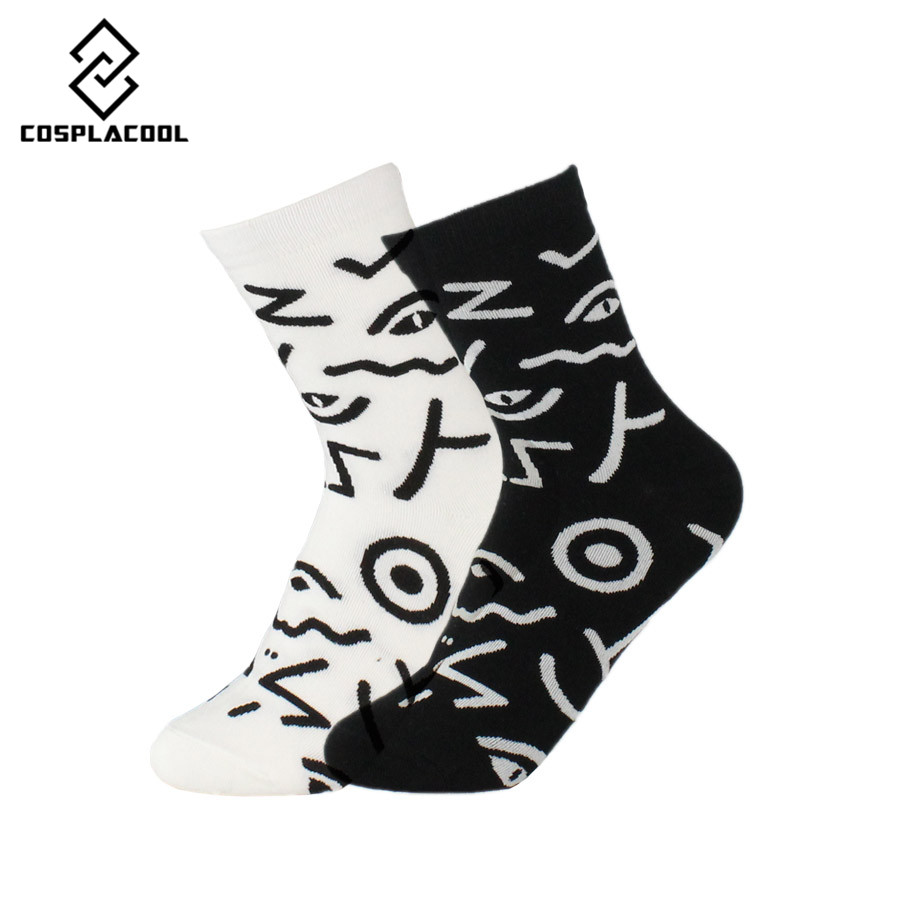 [COSPLACOOL]2 Pairs New Casual Happy Socks Dress paint Funny socks Women Unisex Calcetines Harajuku Warm Socks cotton Meias